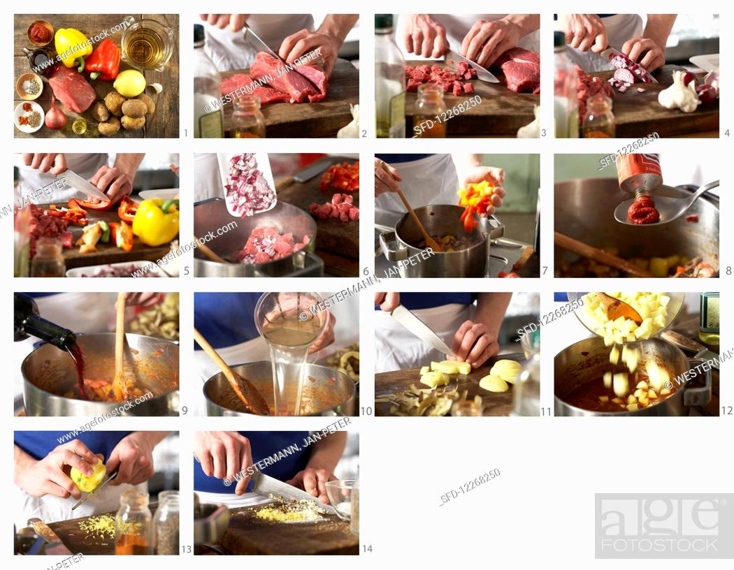 Stock Photo: How to make goulash soup.