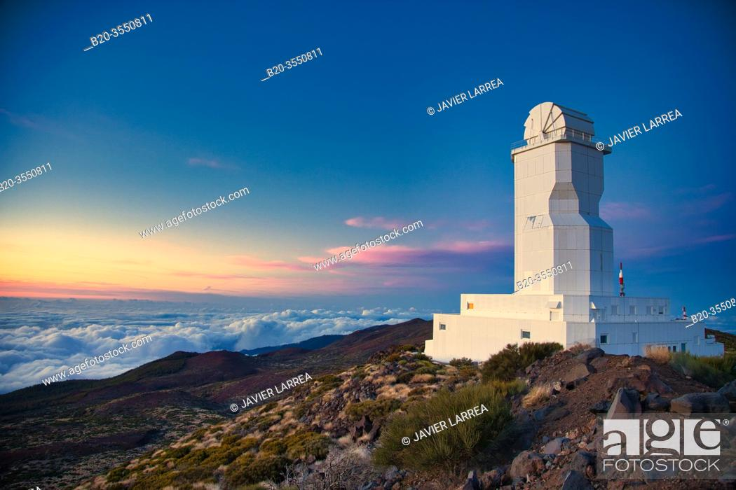 Stock Photo: The Vacuum Tower Telescope (VTT), Solar Telescope, Observatorio del Teide, Tenerife, Canary Islands, Spain...The VTT and the GREGOR are operated by four German.