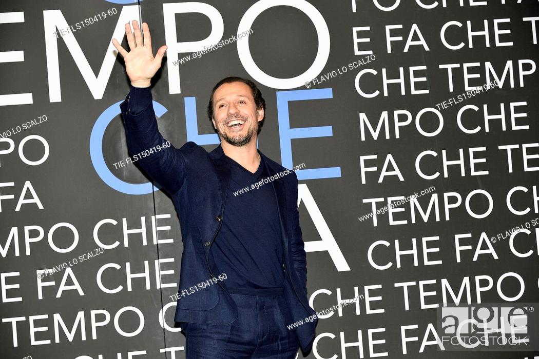 Stock Photo: Stefano Accorsi  during the tv show Che tempo che fa, Milan, ITALY-14-04-2019.