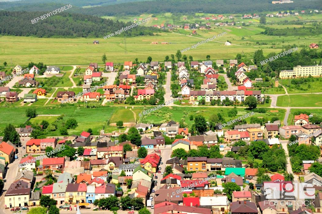 Stock Photo: View of Chentshin from the castle tower, Swietokrzyskie Voivodeship, Poland. The cicy was first mentioned in historical documents from 1275.
