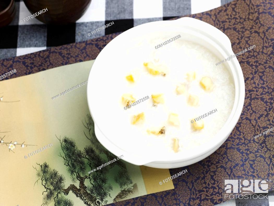 Stock Photo: korean food, flower, cuisine, food, vassel, korean cuisine, ear shell gruel.