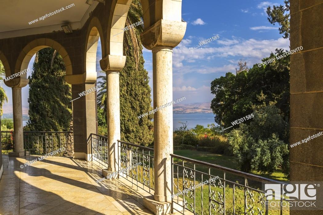 Stock Photo: Columns and architectural details on the Church of the Beatitudes on the Mount of Beatitudes, Sea of Galilee region, Israel.