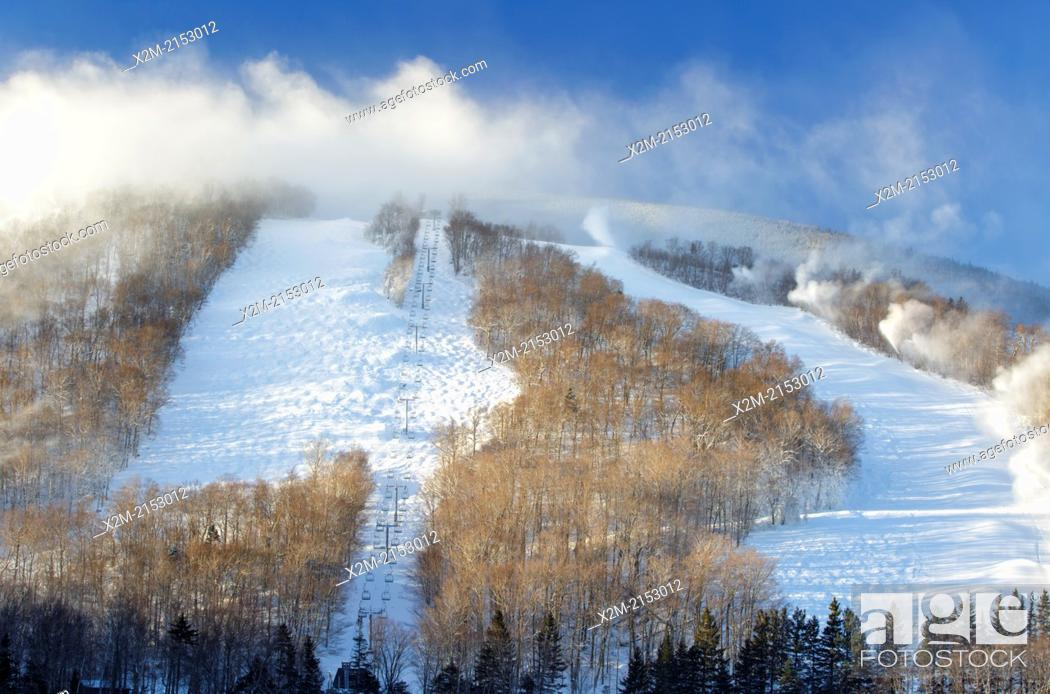 Stock Photo: Franconia Notch State Park - Snow making at Cannon Mountains in the White Mountains, New Hampshire USA.