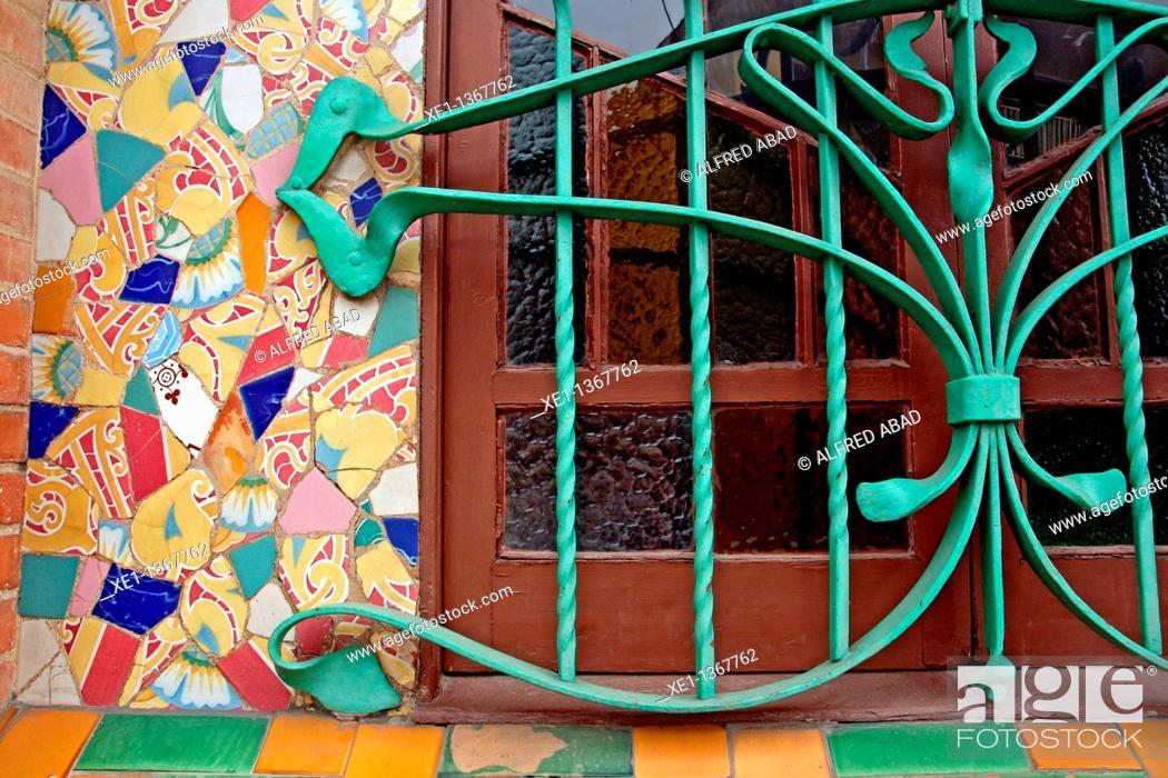 Stock Photo: window, modernism, Cafe Bassa, 1906, arq Manel Raspall, l'Ametlla del Valles, Catalonia, Spain.