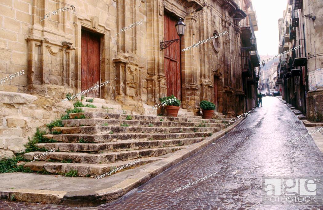 Stock Photo: City Street. Corleone. Sicily. Italy.