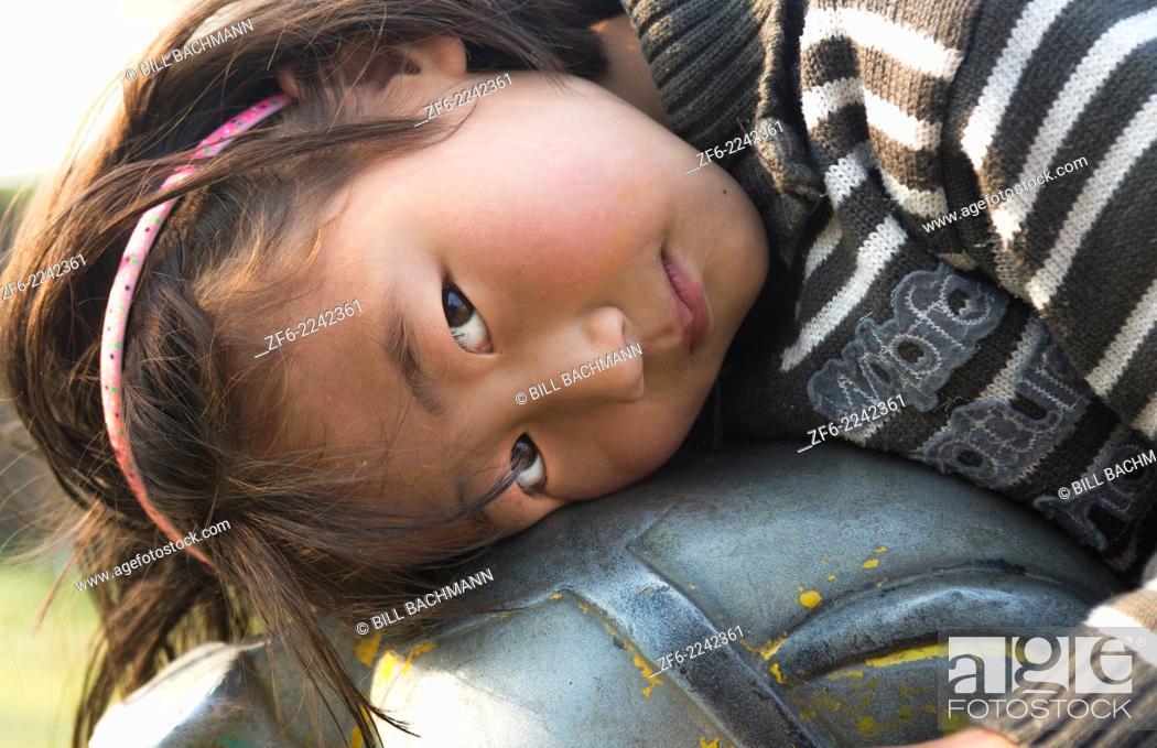 Stock Photo: Kathmandu Nepal Nepali child posing for camera. Nayapati Eastern Kathmandu 1.