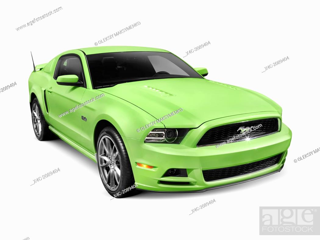 Stock Photo   Green 2013 Ford Mustang GT 5.0 Sports Car Isolated On White  Background With Clipping Path