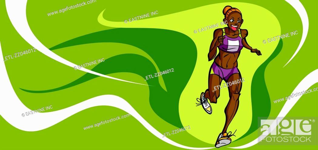 Stock Photo: Female athlete running.