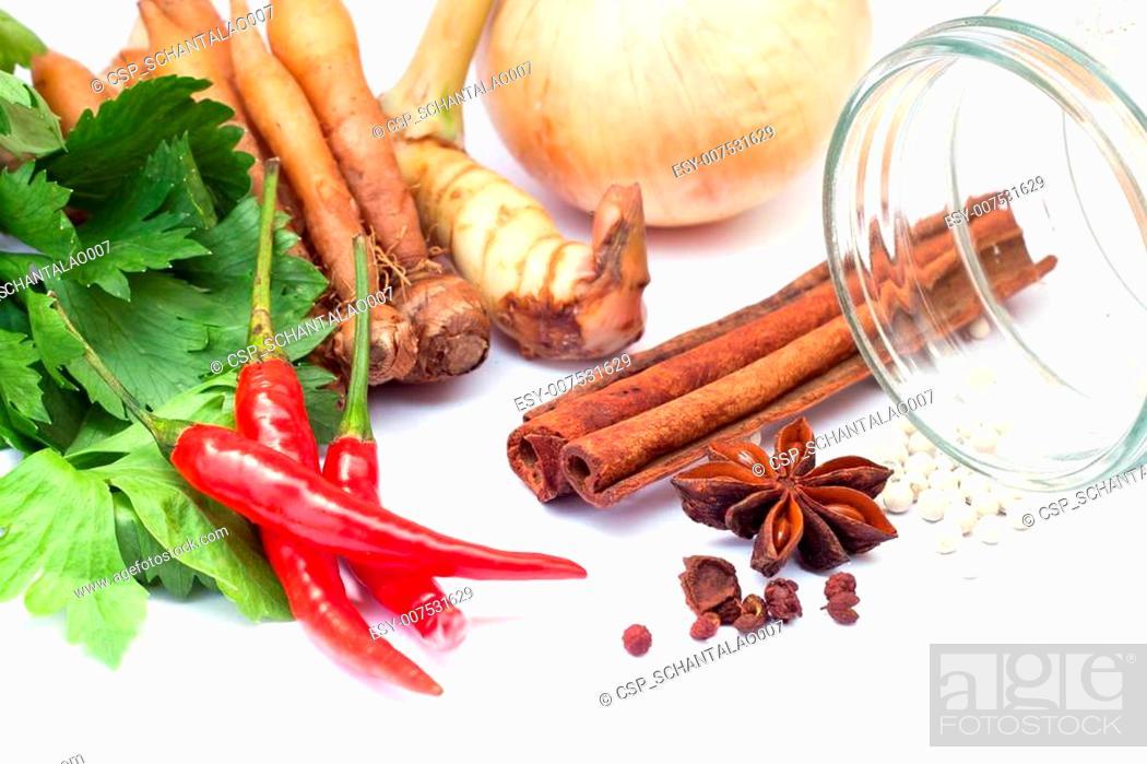 Stock Photo: Thai vegetables & herbs on white background.