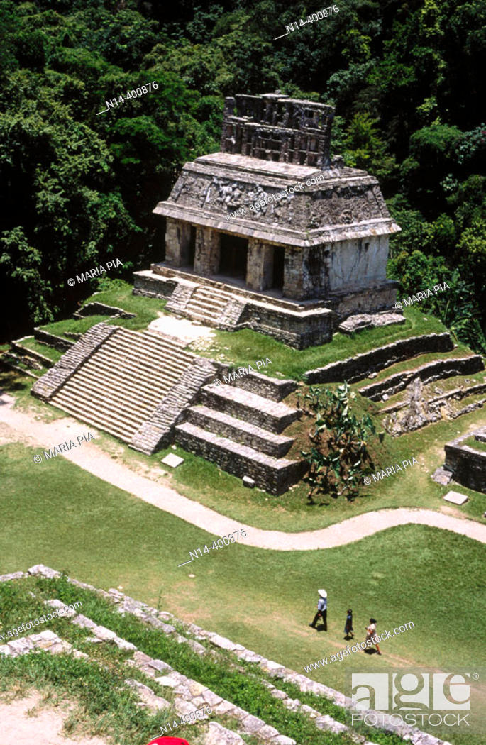 Stock Photo: Temple of the Sun from the Group of the Temples of the Cross, Palenque, Mayan archaeology, pre-Hispanic pyramid architecture of Latin America, Chiapas, Mexico.
