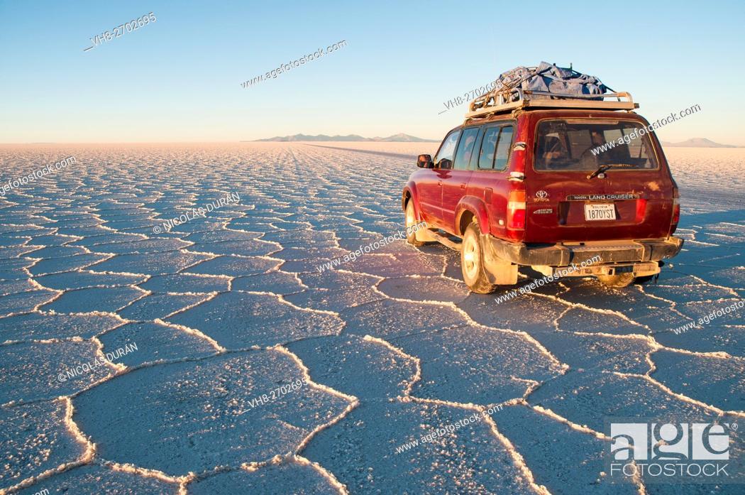 Stock Photo: Traveling in Uyuni Salar. Oruro Department. Bolivia, South America.