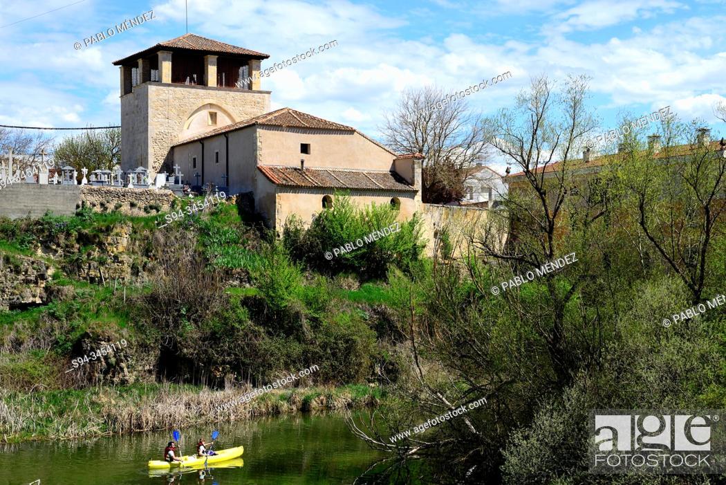 Stock Photo: Church of San Miguel Arcángel of San Miguel de Bernuy, Segovia, Spain.