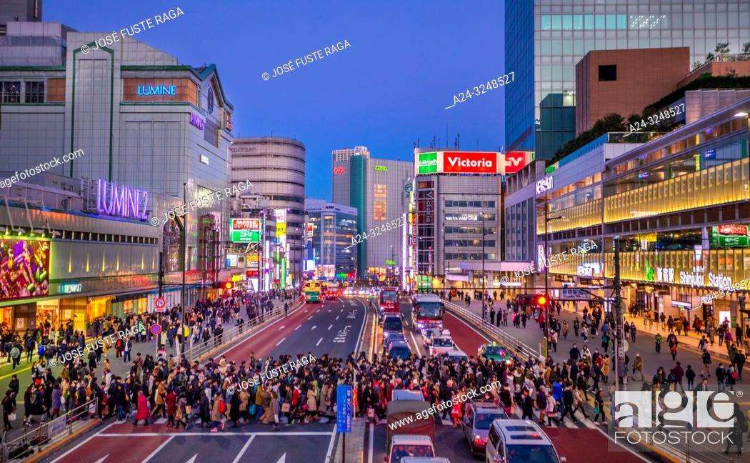 Stock Photo: Japan, Tokyo City, Shinjuku ward, Shinjuku Station South Side.