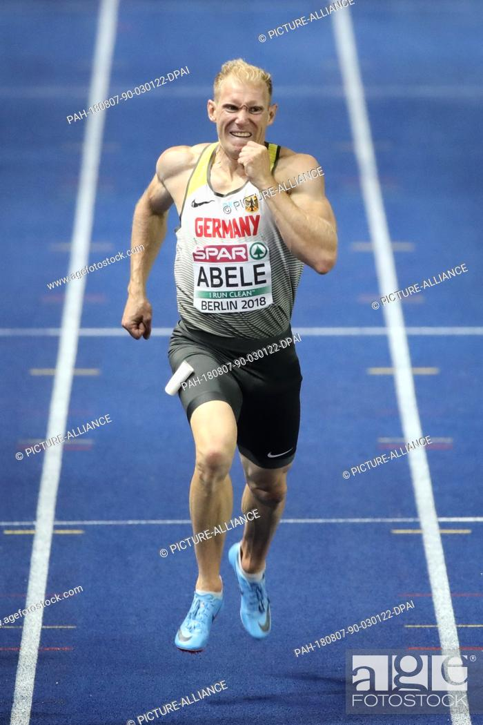 Stock Photo: 07 August 2018, Germany, Berlin: Track and Field: European Athletics Championships in the Olympic Stadium. Decathlon, 400 m.