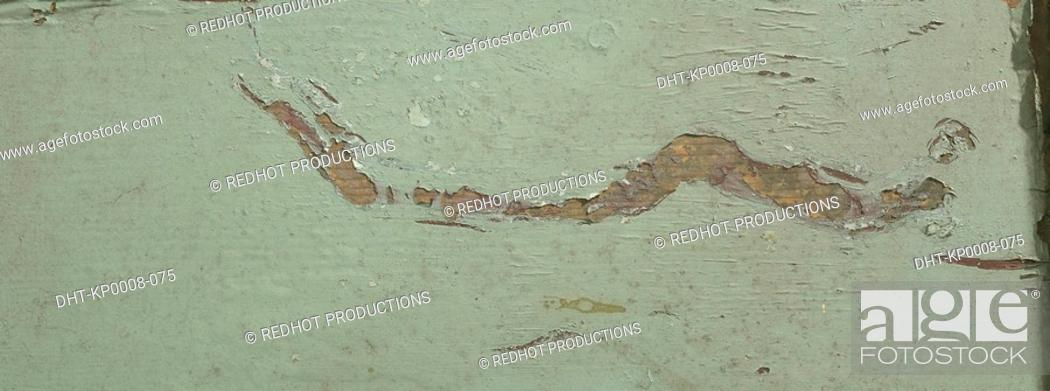 Stock Photo: Cracked Paint on wood close up.