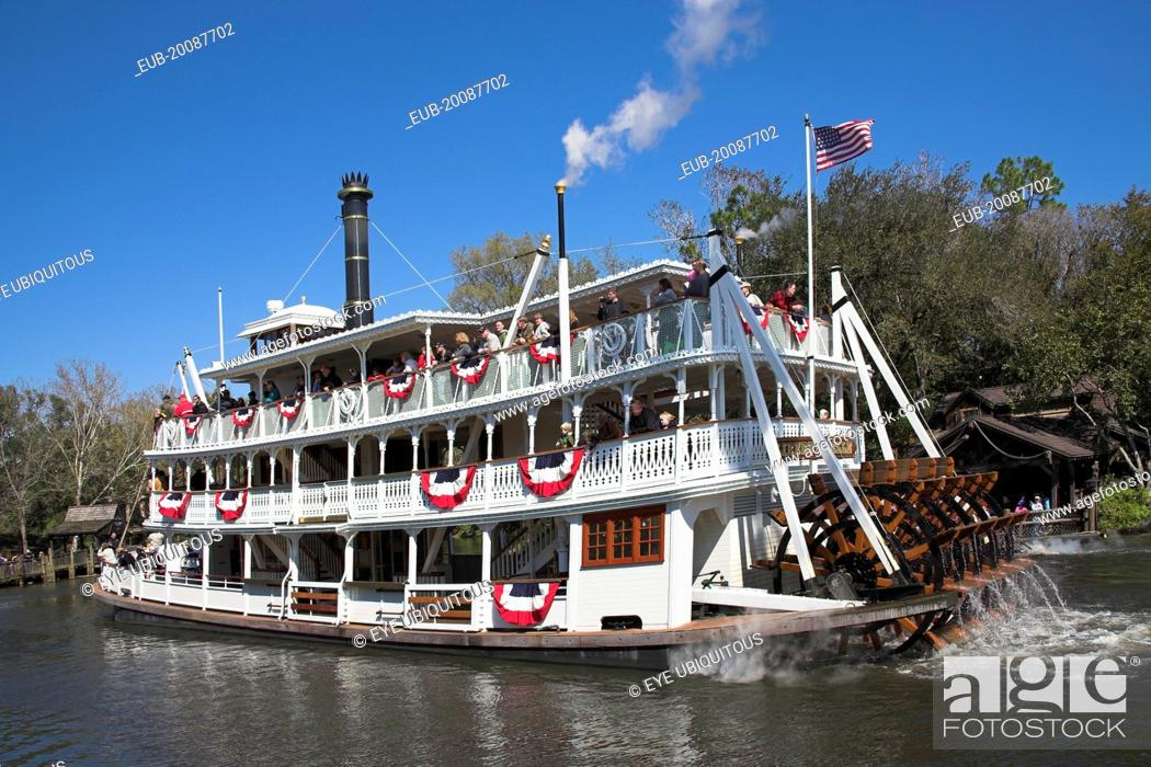 Stock Photo: Walt Disney World Resort. Liberty Belle Paddle Steamer, Liberty Square Riverboat on a lake in the Magic Kingdom.