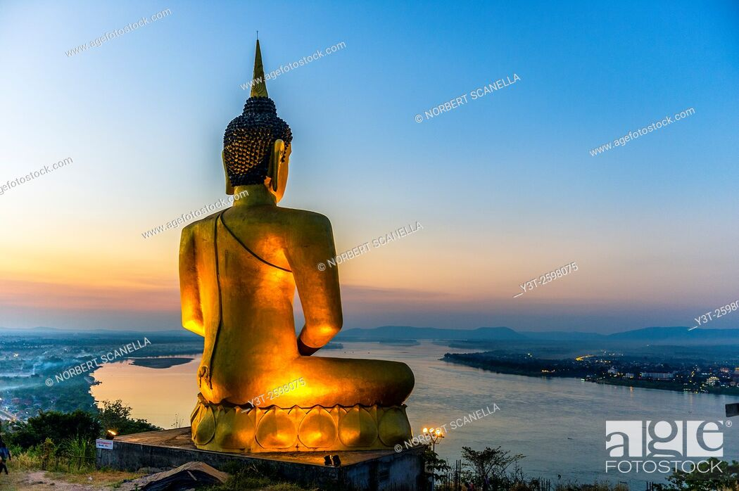 Stock Photo: Asia. South-East Asia. Laos. Province of Champassak. Pakse. The big golden Buddha.
