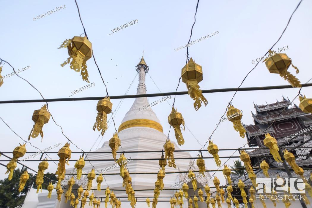 Stock Photo: Buddhist temple of Wat Phra That Doi Kong Mu, Mae Hong Son, Thailand.