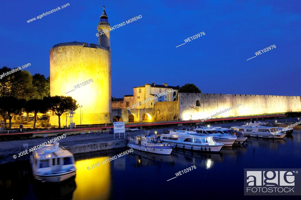 Stock Photo: Constance Tower at dusk, Aigues-Mortes. Petite Camargue, Gard, Languedoc-Roussillon, France.