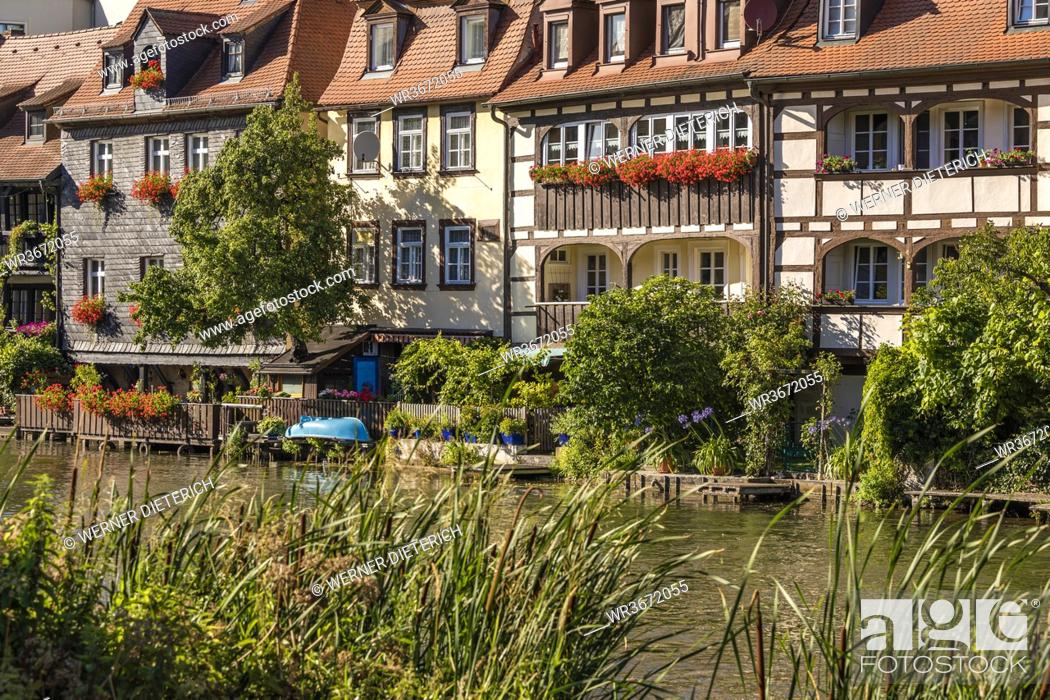 Stock Photo: Germany, Bavaria, Bamberg, River Regnitz and Little Venice townhouses in spring.
