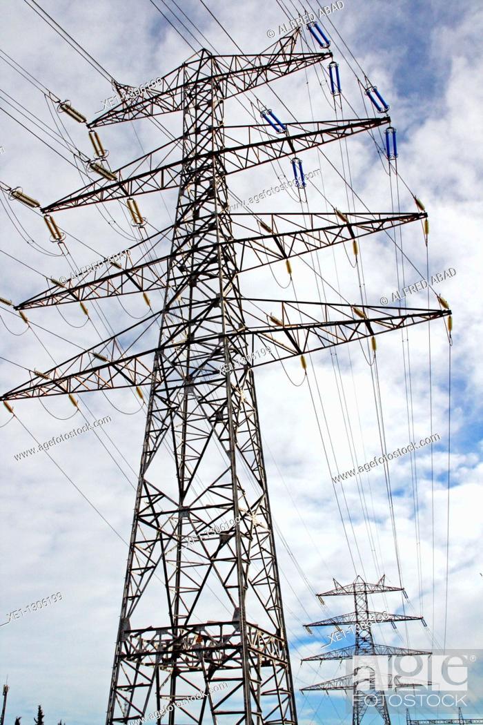 Stock Photo: Electricity pylons, Sant Boi de Llobregat, Catalonia, Spain.