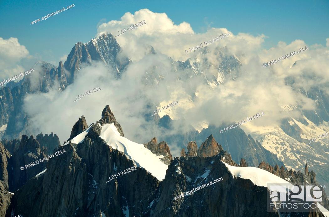 Stock Photo: Aiguilles de Chamonix, near Mont Blanc. French Alpes.