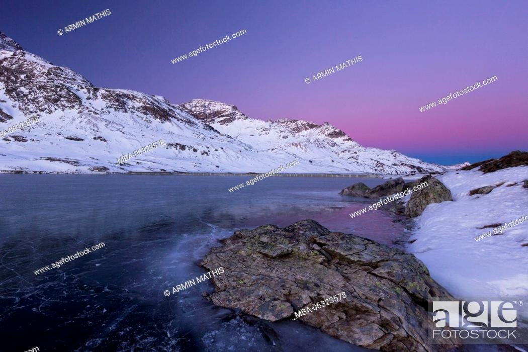 Stock Photo: Morning mood at the Lago Bianco, Canton of Grisons.