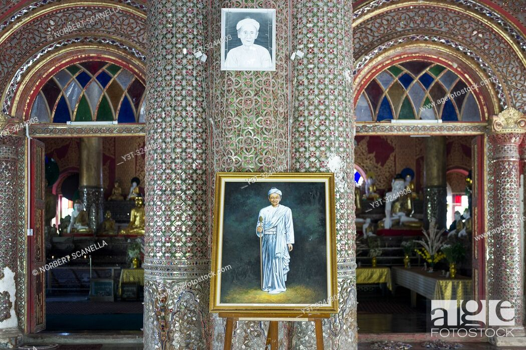 Stock Photo: Myanmar (formerly Burma). Mon State. Kadoe. The U Na Auk Pagoda complex.