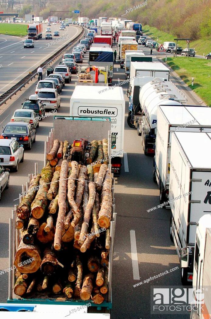 Stock Photo: Traffic jam due to accident. A1 Freeway (Zurich-Bern). Switzerland.