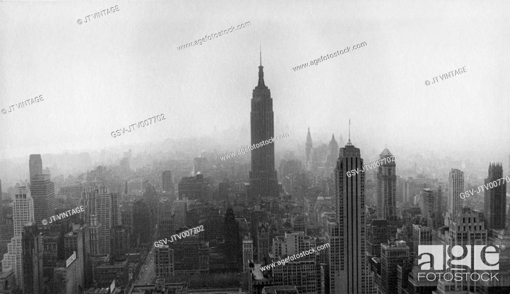 Stock Photo: Skyline, New York City, USA, circa 1950.