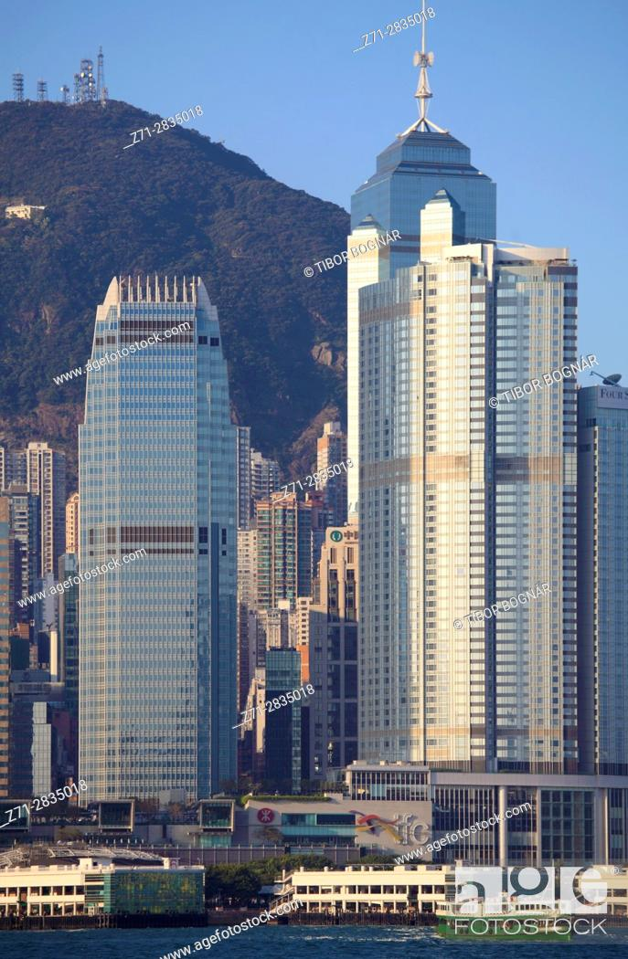 Stock Photo: China, Hong Kong, Central district, skyline, Victoria Peak, .