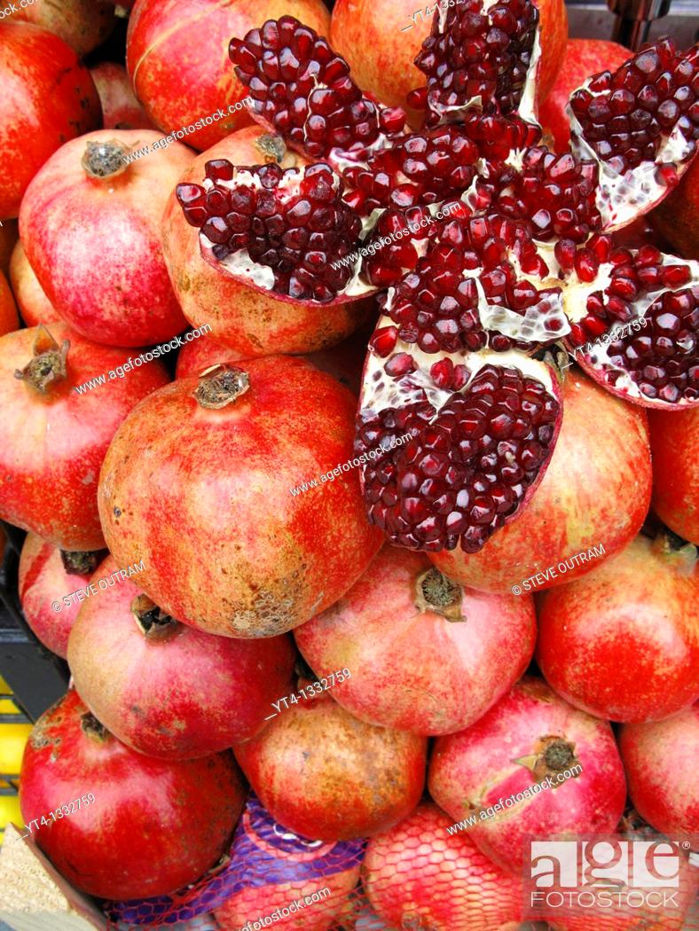 Stock Photo: A display of fresh Pomegranates, Beyoglu Cafe Bar, Istanbul, Turkey.