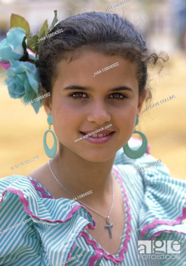 Stock Photo: Andalusia, dresses, Feria del Caballo, party, folklore, Gipsy's national costume, Girls, Jerez de la Frontera, natio.