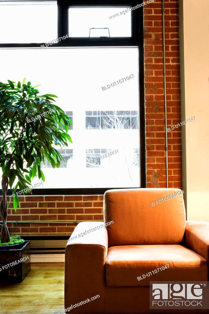 Stock Photo: Cushy chair in loft apartment with houseplant in front of window.