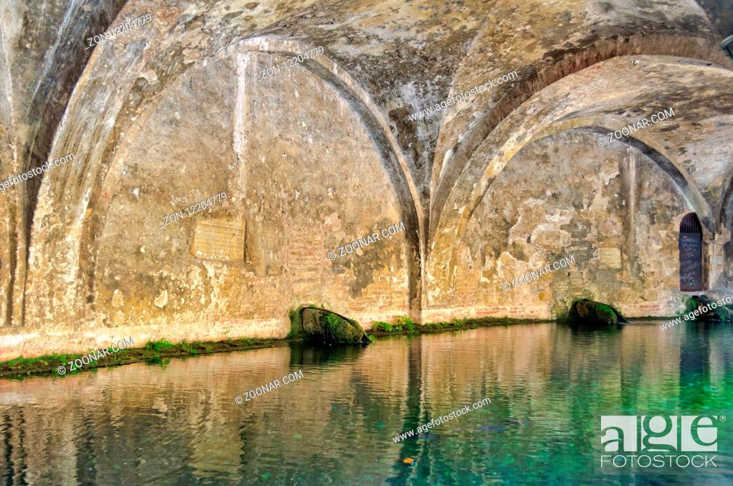 Stock Photo: The arches and the pool of Fonte Branda - Siena, Tuscany Italy.