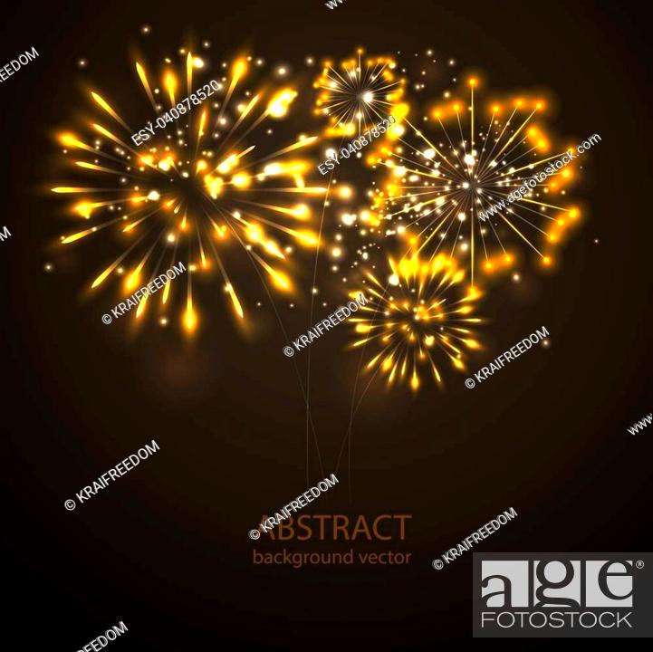 Stock Vector: Fireworks on twilight background vector. Firework new year holiday celebration.