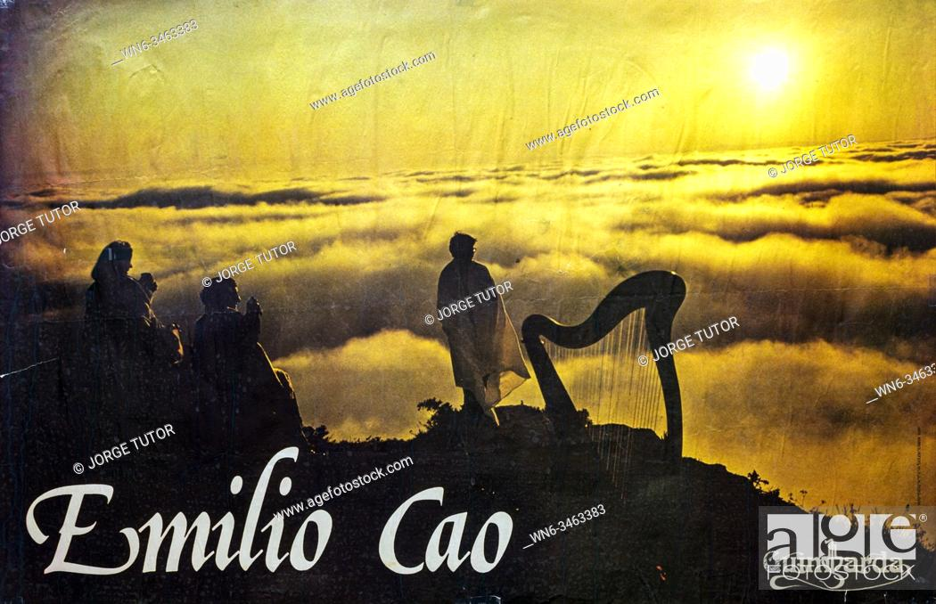 Imagen: Emilio Cao, Galician folk harpist promo 1980 poster.