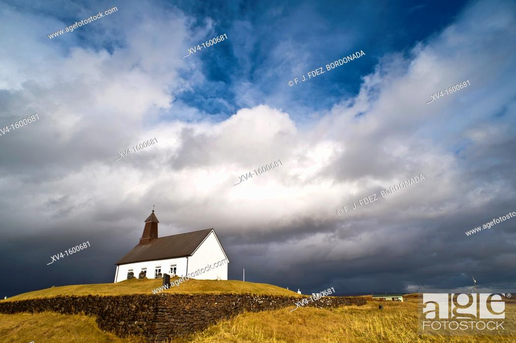 Stock Photo: Strandarkirkja  South Iceland coast  Iceland.
