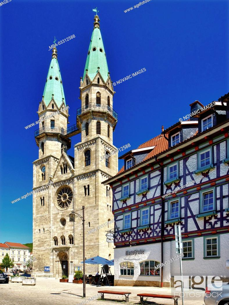 Stock Photo: City Church 'Our Lady' and Ratsstube, Meiningen, Thuringia,.