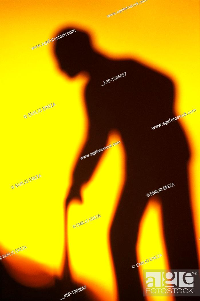 Stock Photo: Old man silhouette.
