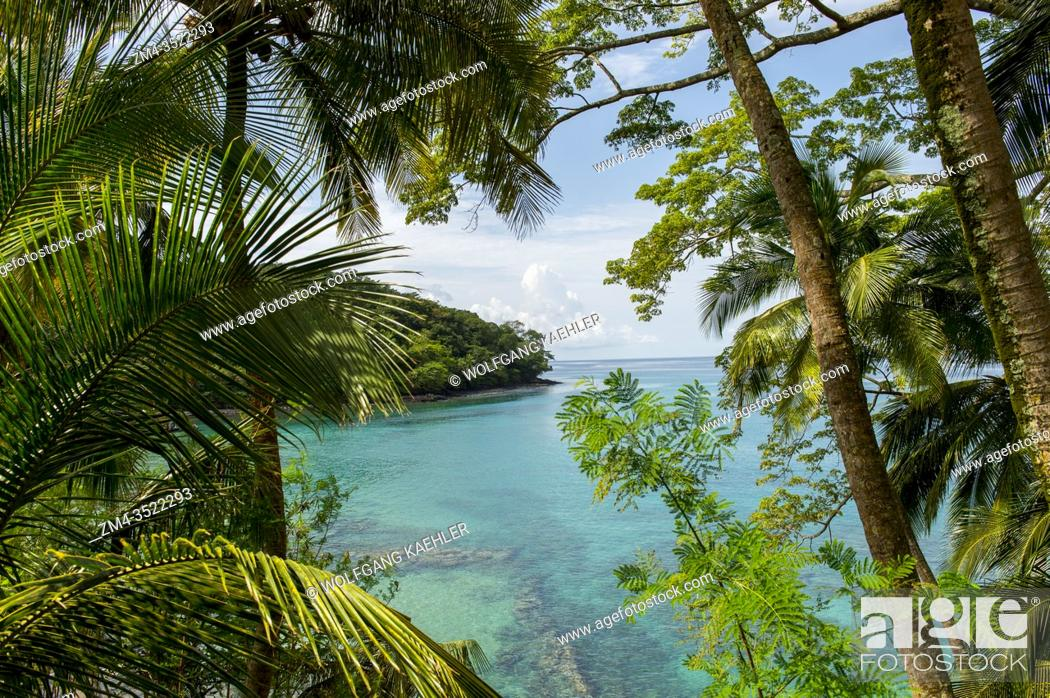 Stock Photo: View from Bom Bom Resort on Principe Island of bay, Sao Tome & Principe.
