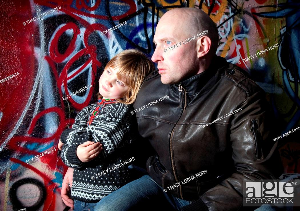 Stock Photo: family urban father son city.