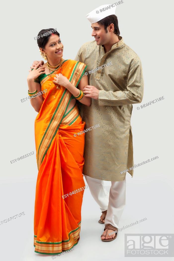 Stock Photo: Maharashtrian couple.
