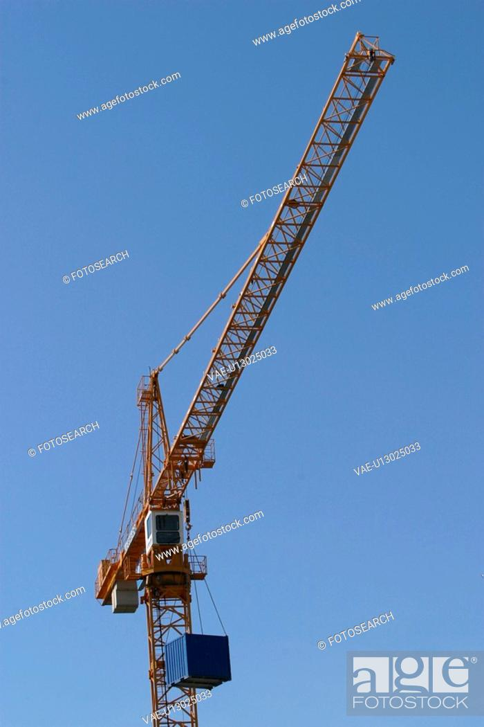 Stock Photo: industry, crane, machinery, container, freight, goods.