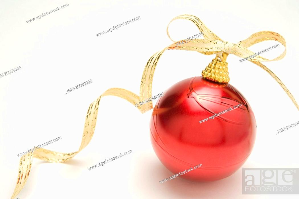 Stock Photo: Christmas Bauble with Ribbon.