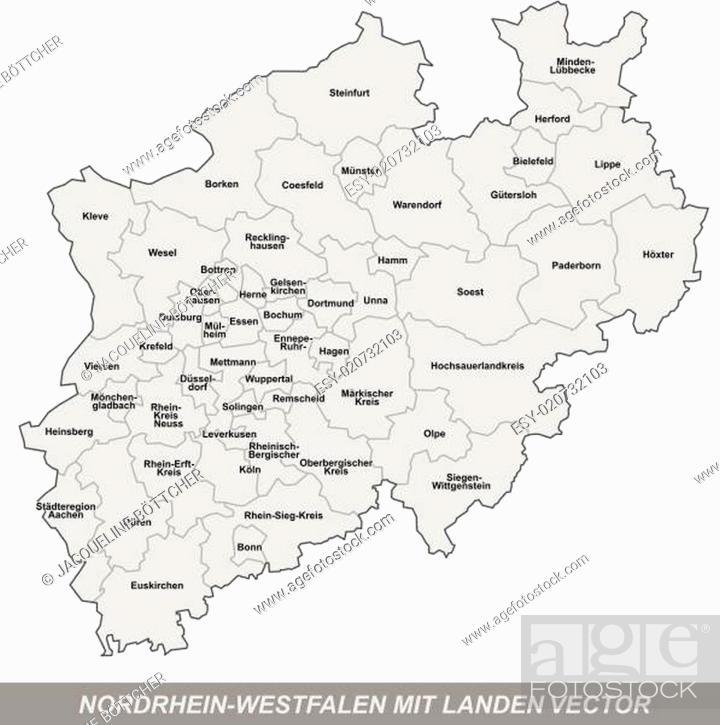 Stock Vector: Inselkarte von Nordrhein-Westfalen mit Grenzen in Grau.