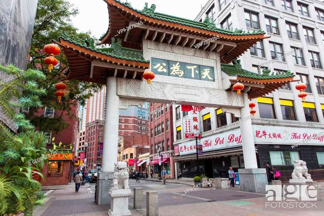 Imagen: Chinatown Paifang gate Beach street Boston MA USA Massachussets.