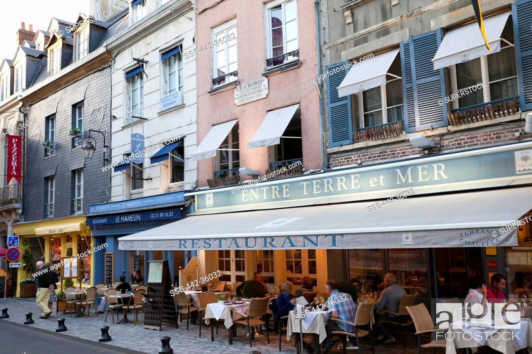 Stock Photo: France, Normandy, Honfleur, Restaurants and Outdoor Cafes.