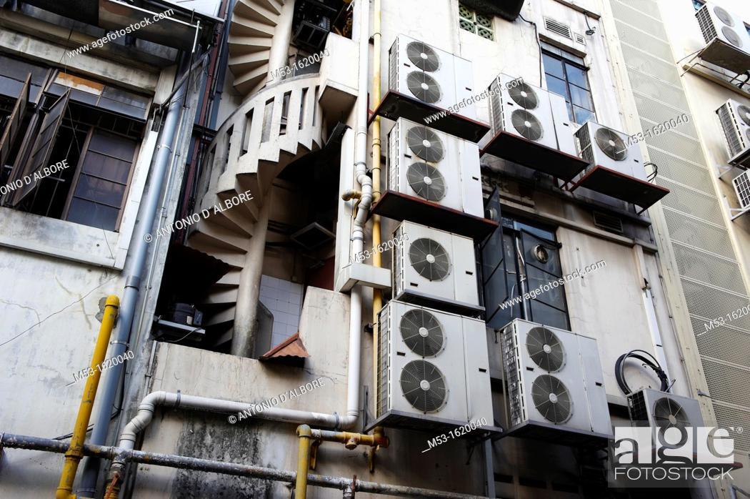 Stock Photo: Air conditioning units outside a commercial building in Boat Quay  Singapore.