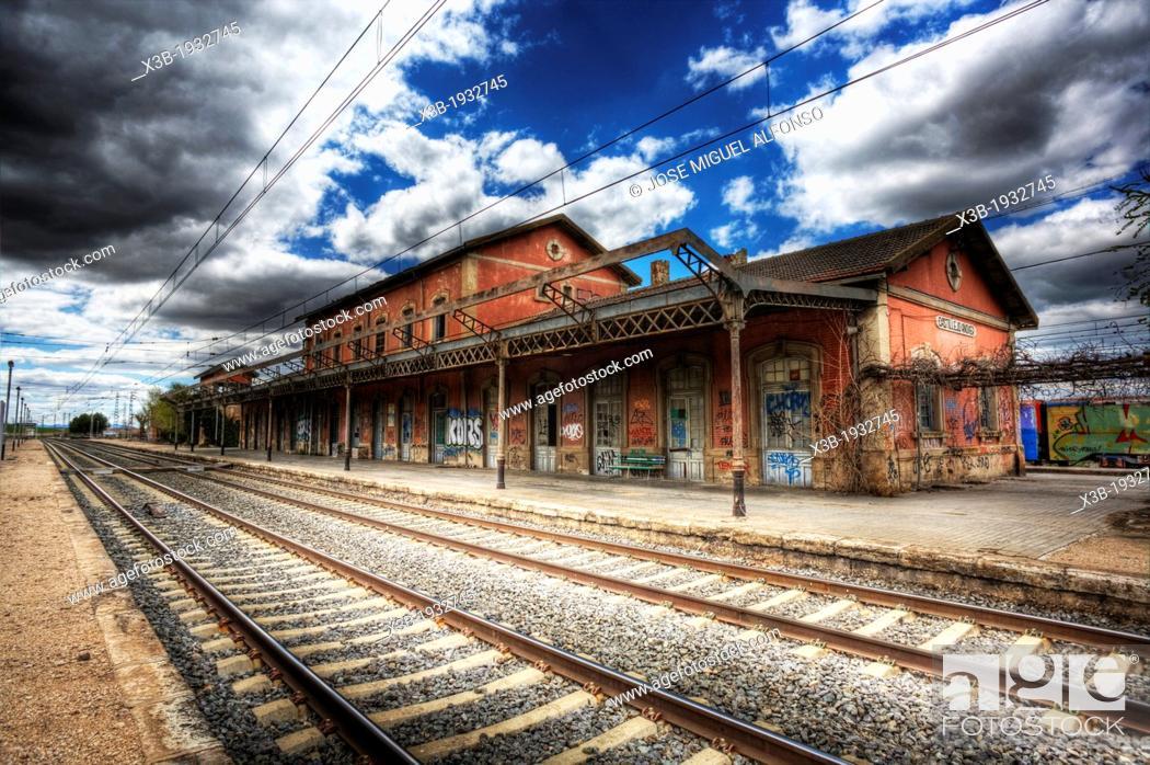 Stock Photo: Abandoned train station. Castillejo Añover, Guadalajara. Spain.